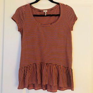 Splendid Short Sleeve Striped Shirt (Size Small)